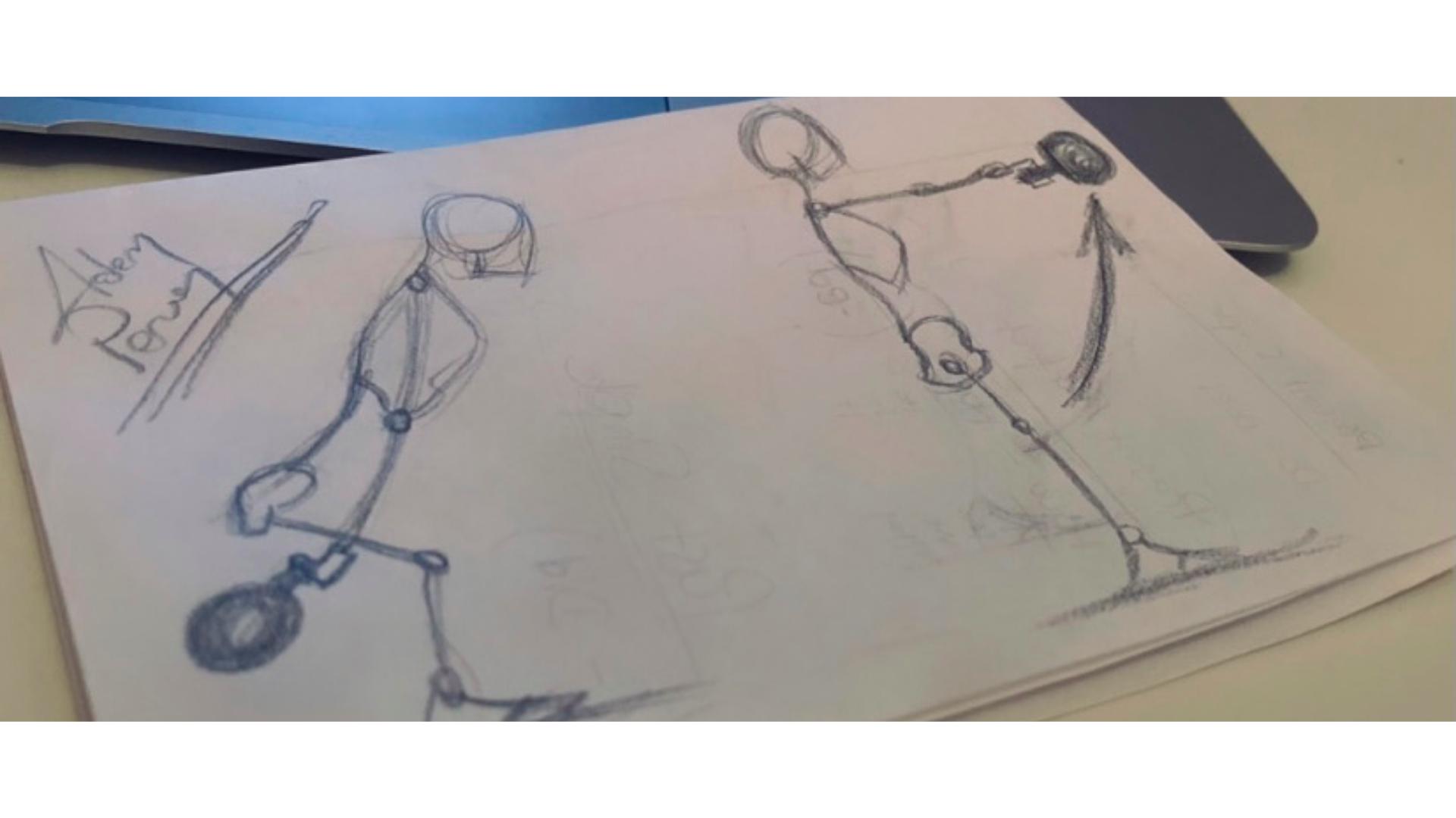 Kettlebell swing hareketinin çizim görseli.