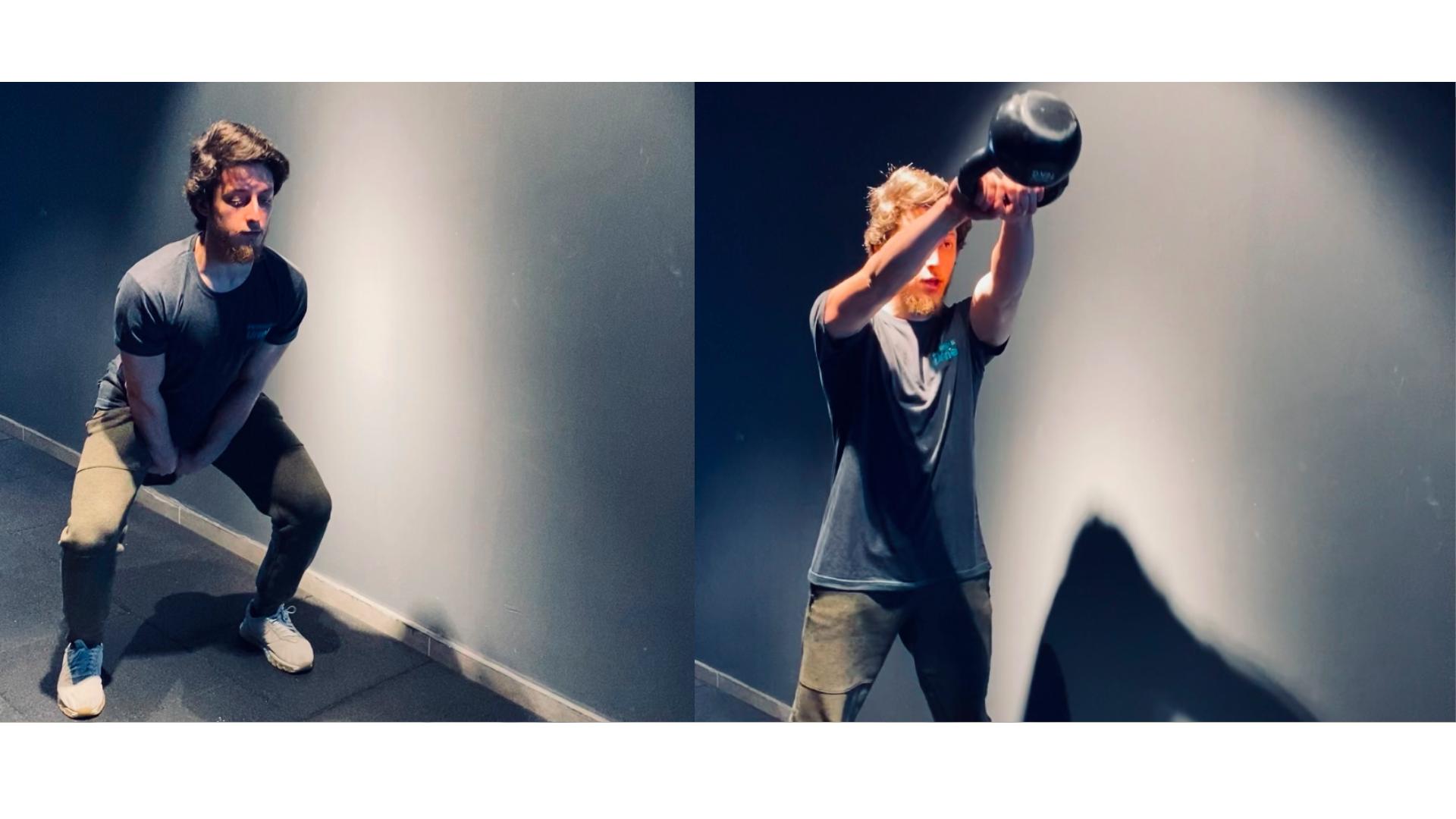 Kettlebell swing hareketinin yapılış görseli.