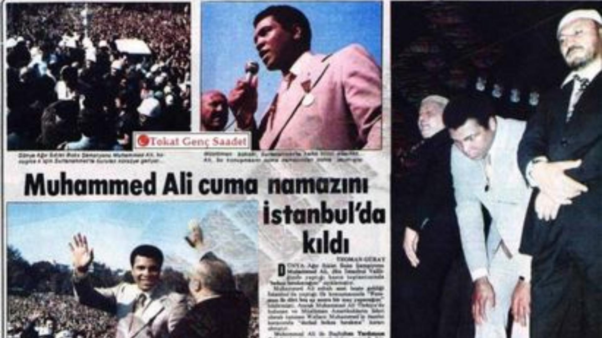 Muhammed Ali'nin namaz kılarken ki gazete manşetinin görseli.
