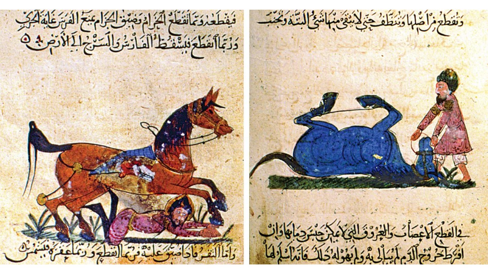 Eski zamanlarda at eğiticiliği yapan kişilerin görseli.