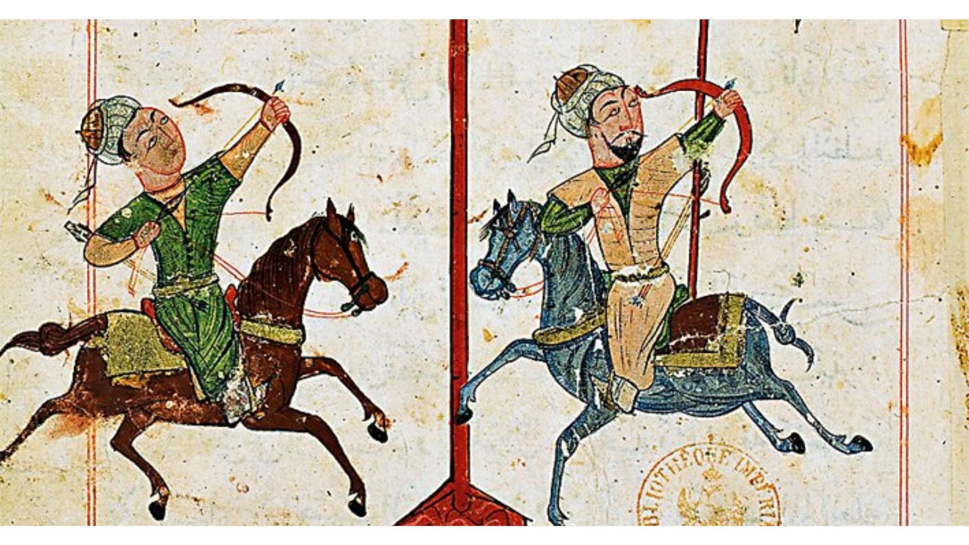 İslam ansiklopesi maddesinde eski türklerde at üstünde okçuluk yapan adamların görseli.
