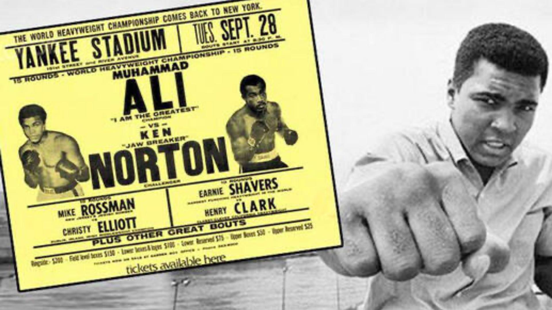 Ali ve Ken Norton maç afişinin bir görseli.