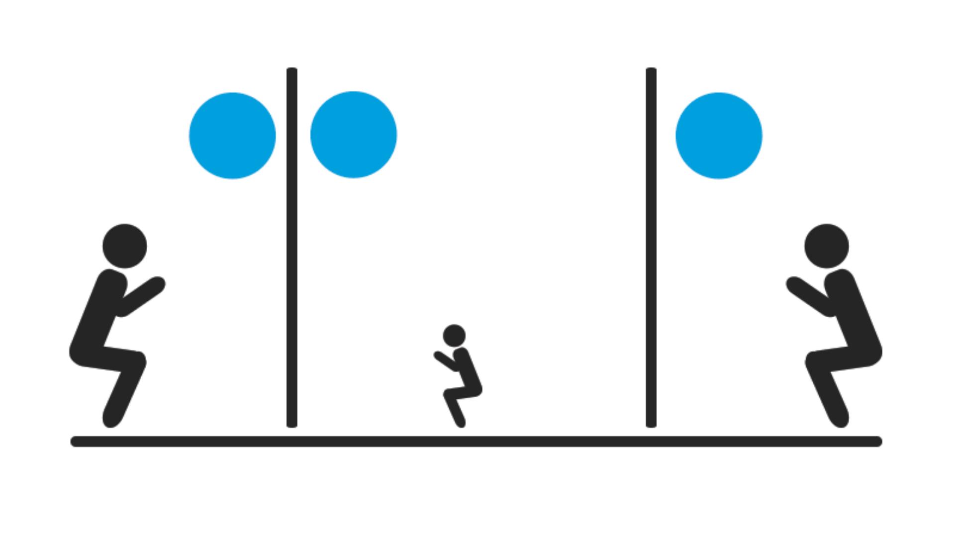 wall ball hareketi için yapılışı gösteren bir görsel.