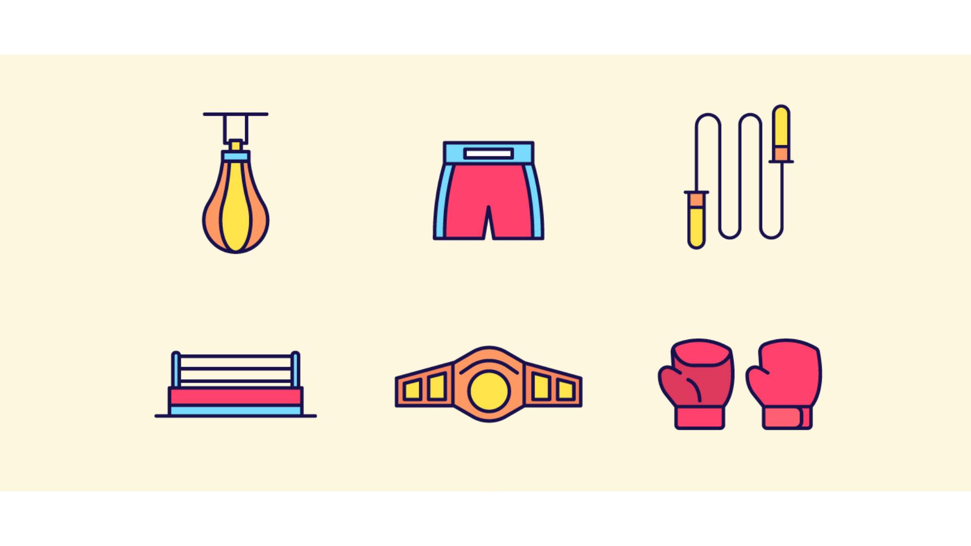 boks ekipmanları için kullanılan bir çizim görseli.