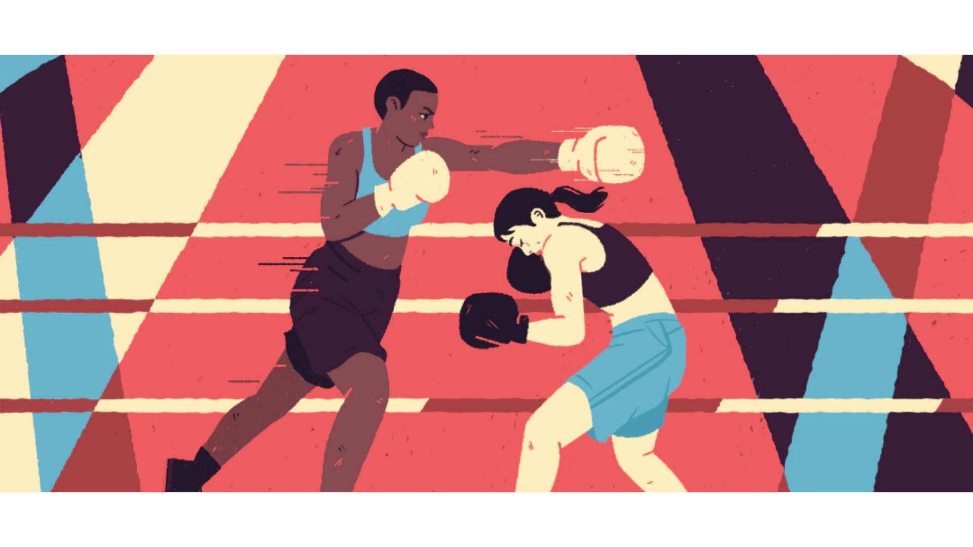 Dövüşen iki boksöre ait çizim görseli.