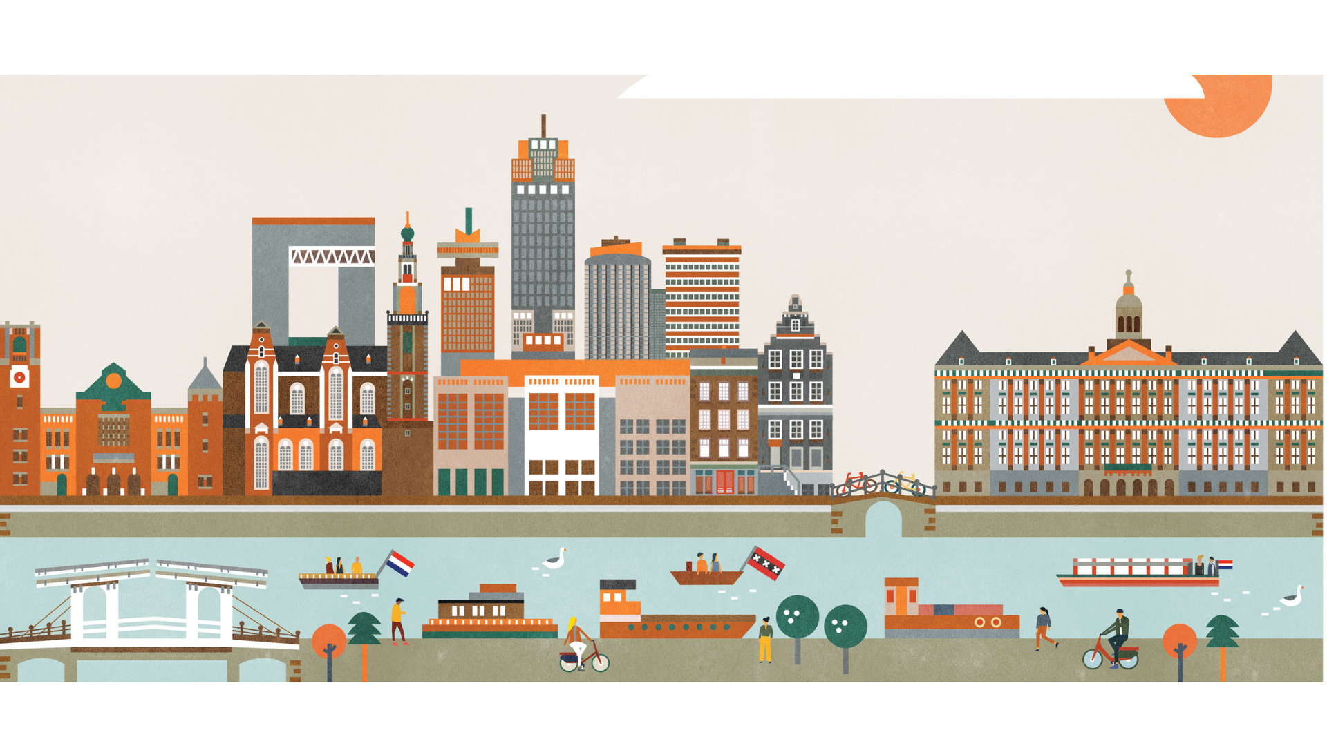 Amsterdam'a ait bir çizim görseli.