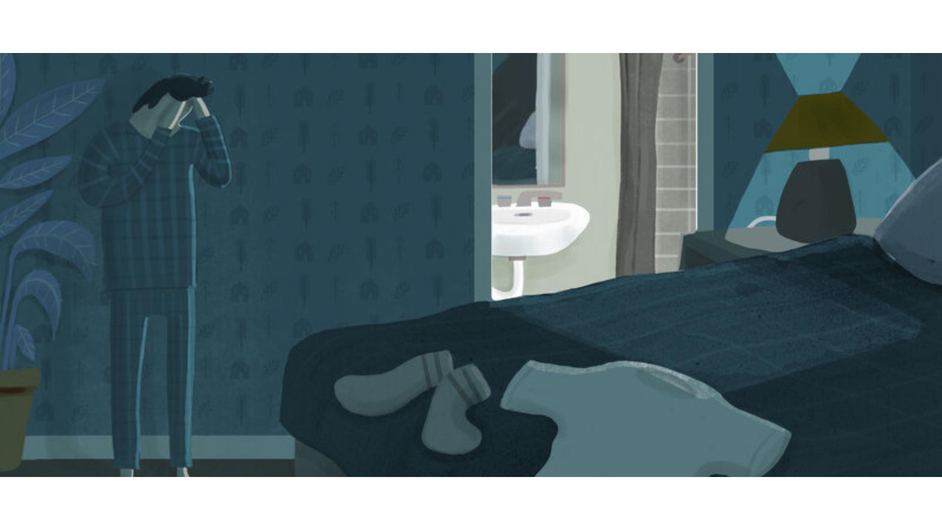 Düzenli uyku uyuyamayan bir kişinin çizim görseli.